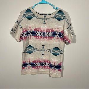 Chaps Short Sleeve Tribal Southwest Knit Sweater